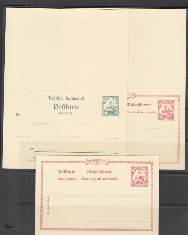 Cameroun Mi P9-P11 mint 1900 Postal & Postal Reply Double Cards, 3 different VF