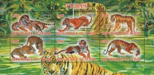 Chad Tigers Wild Animals Souvenir Sheet of 6 Stamps Mint NH