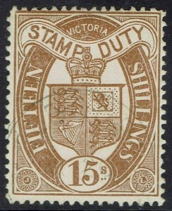 VICTORIA 1884 STAMP DUTY 15/- WMK V/CROWN UPRIGHT SG W33 USED/CTO