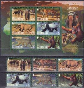 Gibraltar #1284-9, 1289a   MNH   CV $20.00  (Z2507L)