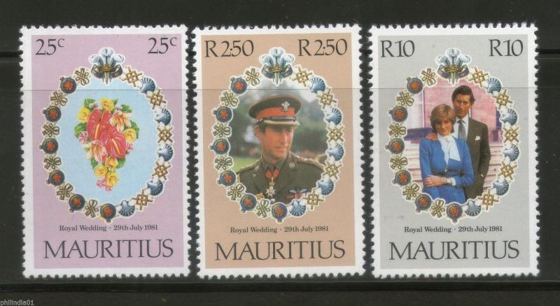 Mauritius 1981 Princess Diana & Charles Royal Wedding 3v Sc 520-22 MNH # 4011