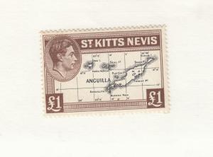 ST KITTS-NEVIS # 90 VF-MLH KGV1 ONE POUND