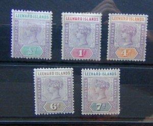 Leeward Islands 1890 values to 7d MM couple tone spots