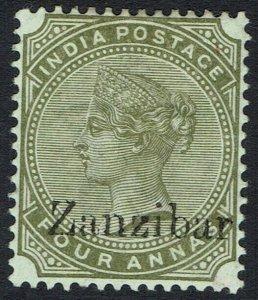 ZANZIBAR 1895 QV INDIA 4A