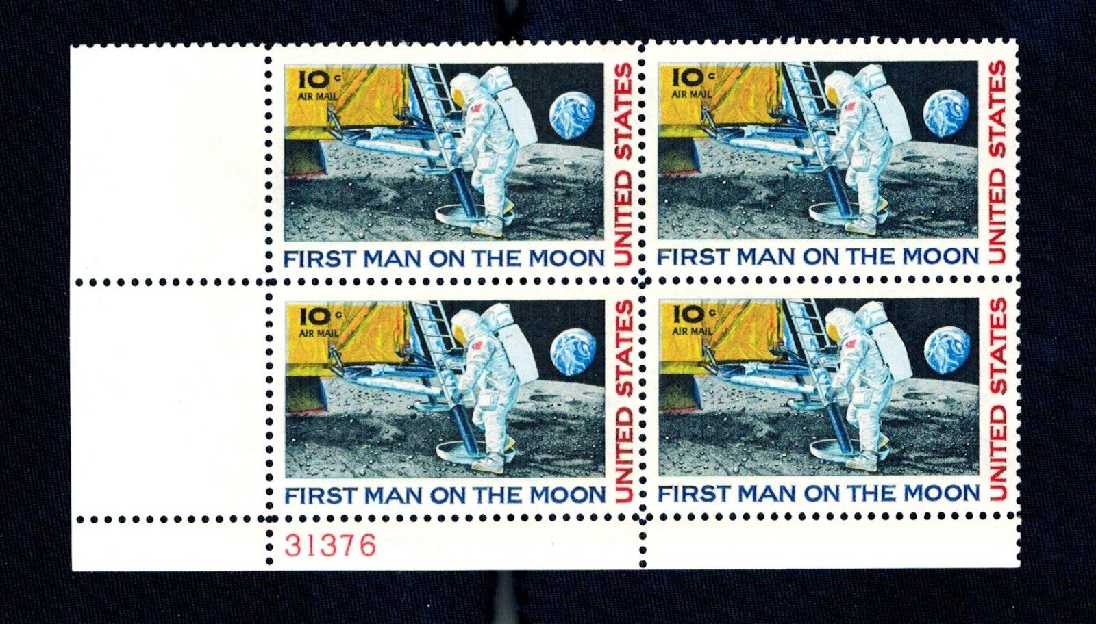 US Air Mail Stamp 1969 - 10 cent First Man on Moon Plate