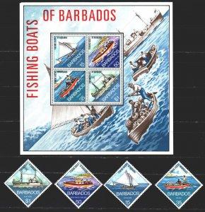 Barbados. 1974. 361-64, bl4. Fishermen, boats, ships. MNH.
