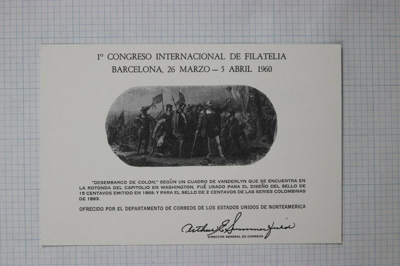 US Souvenir Card SC2 Postcard 1960 Barcelona Philatelic Congress