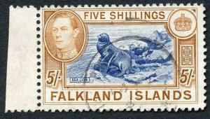 Falkland Is SG161 5/- blue and chestnut CDS Used  Cat 95 pounds