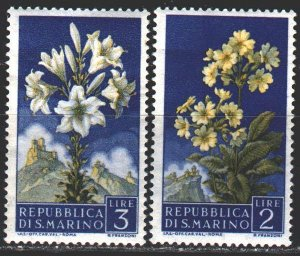 San Marino. 1957. 568-69 from the series. Flowers, flora. MNH.