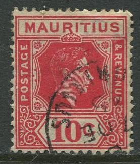 Mauritius - Scott 215 - KGVI Definitives -1938 - Used - Single 10c Stamp