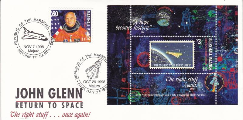 Marshall Islands 1998 John Glenn Return to Space S/Sheet First Day Cover VF