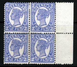 QUEENSLAND AUSTRALIA QV 1897 2d. Blue BLOCK OF FOUR Wmk Crown over Q SG 234 MINT