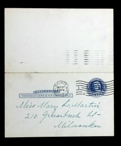 US Postal Card Sc UY5 ERROR/EFO REVERSED Preprinted Message/Reply Milwaukee 1911