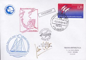 France 1990 Trans Antarctic 90 UAP  Posted at Sea Cover Signed Voilier Polaire