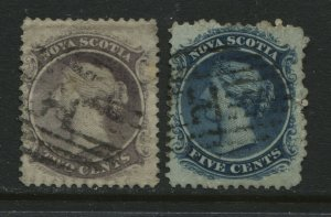 Nova Scotia QV 1860 2 cents and 5 cents used