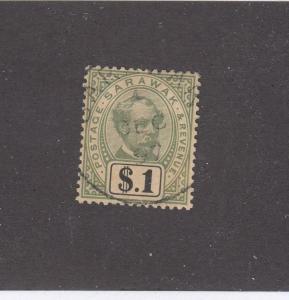 SARAWAK (KSG493) # 21 VF-USED $1 CHARLES JOHNSON BROOKE /GRAY-GRN  CAT VAL $110