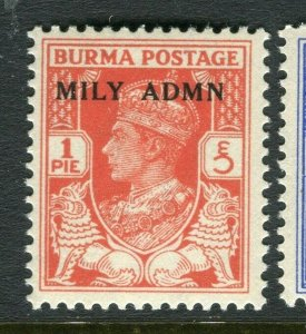 BURMA; 1945 early GVI MILY ADMIN issue fine Mint hinged 1p. value