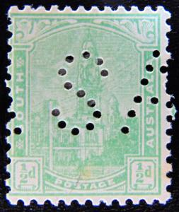 SOUTH AUSTRALIA 1899 1/2d Adelaide Post Office PERFIN MH