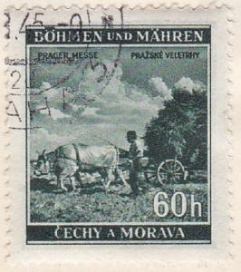 Bohemia & Moravia Sc #57 Stamp 1941 German Protectorate 60h Used.