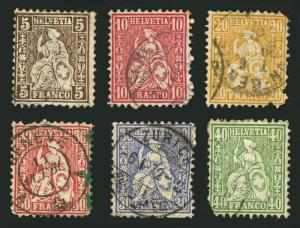 Switzerland 1862-78 Small group of Seated Helvetia Used with Faults Lot of 6