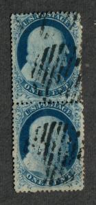 US Sc#20 Used/F, Pair Pos 87R2, 97R2, Doporto Cert., C.v. $625