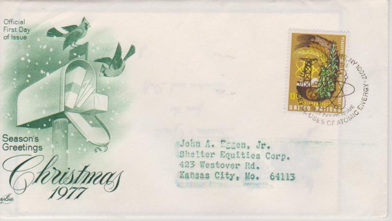United Nations 1977 Christmas First Day Cover