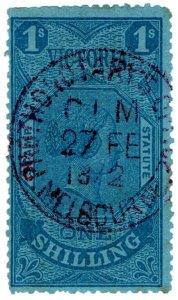 (I.B) Australia - Victoria Revenue : Stamp Statute 1/- (single line watermark)