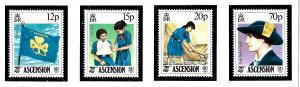 Ascension 377-80 MNH 1985 Girl Guides