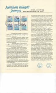Marshall Islands First Definitives Panel, 35-8, 44, 49a FDC Majuro 1984