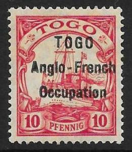 TOGO SGH3 1914 10pf CARMINE MTD MINT