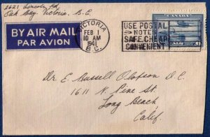Canada 1941 Cover Victoria B.C. Via Airmail Scott C6 Nice Machine Cancellation