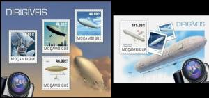 Mozambique 2014, airship, dirigible aviation klb(4v) + s/s MNH