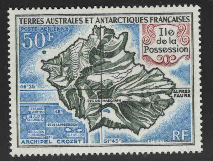 FSAT Scott C20 MNH** Possession Island map stamp CV $21