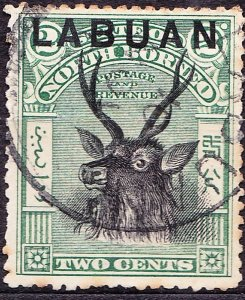 LABUAN 1900 2 Cents Black and Green SG111 FU