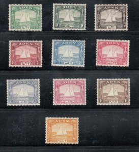 ADEN # 1-10 VF-MLH KGV1 DHOW ISSUES CAT VALUE $246
