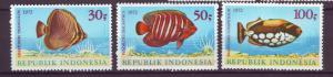 J21056 Jlstamps 1972 indonesia set mh #834-6 fish