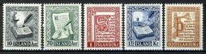 Iceland 1953, Old Manuscripts full set VF MNH, Mi 287-291 cat 35€