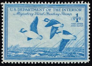 US STAMP BOB DUCK STAMP #RW15 – 1948 $1.00 Buffleheads  MH/OG STAMP