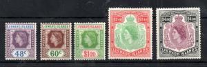 Leeward Islands QEII 1954 mint MH high values to $4.80 WS13130
