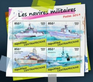 Central Africa - 2019 Military Ships on Stamps - 4 Stamp Sheet - CA190306a