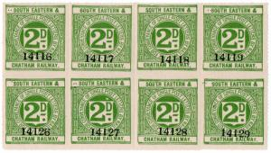 (I.B) South Eastern & Chatham Railway : Letter Stamp 2d (part sheet)