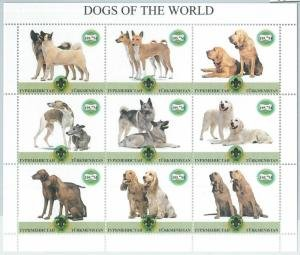 Turkmenistan 2000 DOGS OF THE WORLD Scout Emblem Sheet Perforated Mint (NH)
