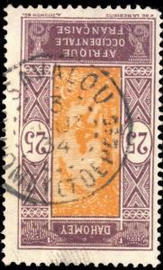DAHOMEY - 1934 - CAD DOUBLE CERCLE SAVALOU / DAHOMEY E DEPces SUR N°63