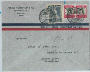 79237 - COLOMBIA - Postal History - Airmail COVER: BARRANQUILLA to ARGENTINA