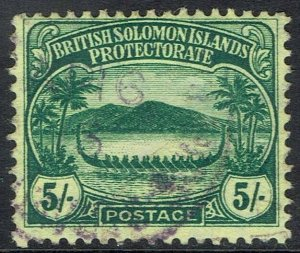 BRITISH SOLOMON ISLANDS 1908 SMALL CANOE 5/- USED
