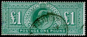 SG266, £1 dull blue-green, FINE USED. Cat £825.