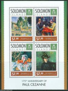 SOLOMON ISLANDS 2014 175th BIRTH ANNIVERSARY OF PAUL CEZANNE SHEET  MINT  NH