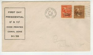 1939 CANAL ZONE OVERPRINTS FDC on 803 + 805 1938 Presidential Series B Franklin
