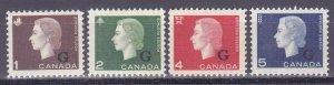 Canada O46-O49 MNH 1963 QEII (G) Official Overprinted Full Set Very Fine