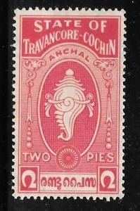 India Travancore-Cochin 16: 2p Conch Shell, MH, F-VF